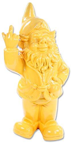 Stone-Lite Figur - Gartenzwerg mit Stinkefinger - 20 cm - gelb - lustiges Geschenk