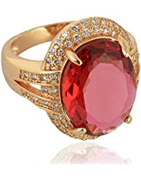 Sanaa Creations Gold Plated Red Diamond Ring For Girl's And Women's