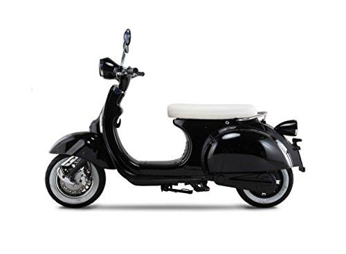 """Elektroroller """"Classico"""", 45 km/h, 3 mögliche Farben, Betriebskosten von ca. 85 Cent pro 100 Kilometer, steuerfrei, 1500W, E Scooter, Garantie, kostenlose Probezeit, Schwarz"""