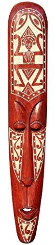 Schöne 100 cm Wand Maske Maori Tribal braun Holz Tier Afrika Maske89