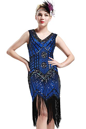BABEYOND Damen Flapper Kleider voller Pailletten Retro 1920er Jahre Stil V-Ausschnitt Great Gatsby Motto Party Damen Kostüm Kleid (Blau, XS (Fits 66-70 cm Waist))