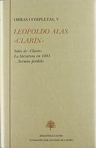 Solos de 'Clarín' ; La literatura en 1881 ; --Sermón perdido par Leopoldo Alas «Clarín»