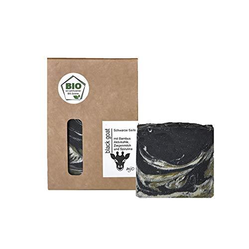 Mijo BLACK GOAT schwarze Seife mit Ziegenmilch für Gesicht handgemachte Naturseife mit Bio Olivenöl ohne Palmöl ca. 100g -