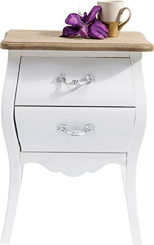 Kare Design Kommode Romantic, Nachttisch, Nachtkommode, Weiß (H/B/T) 62x45x32cm