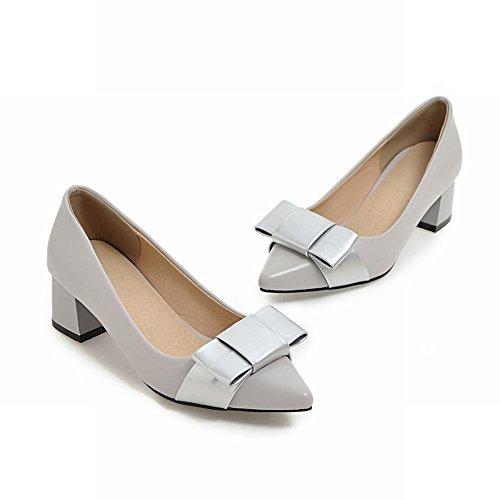 Mee Shoes Damen süß chunky heels mit Schleife Pumps Grau