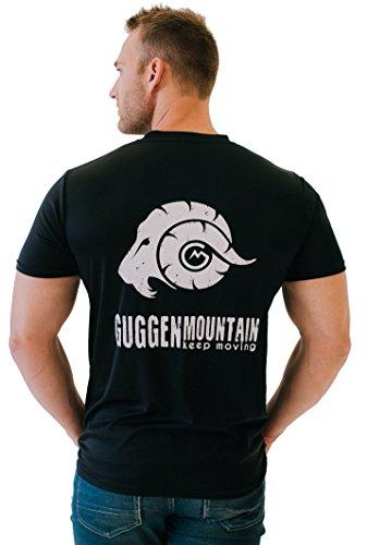 GUGGEN Mountain Herren Funktiosshirt Funktionswäsche Funktions T-Shirt Sport Outdoor Aktivitäten Schnelltrocknend Kurzarm Atmungsaktive Schwarz S