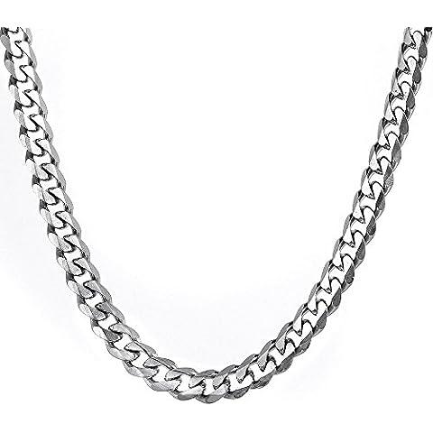 MENDINO Jewellery-Collana da uomo in acciaio INOX con catena, larghezza: 11, colore: argento, 9 x 13 mm con 1 sacchetto di velluto