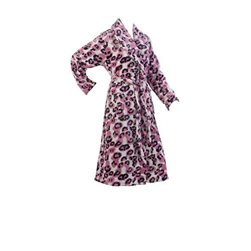Slenderella Robe de Chambre Robe de Luxe Polaire Animal Leopard - Taille EUR 38 40 42 44 46 48 50 52 Rose