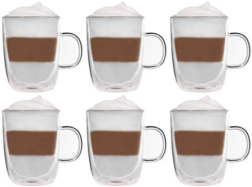 Snobby 6X 360ml doppelwandige Tassen/Thermotassen/Glastassen/Teetassen/Kaffeetassen mit Schwebeeffekt by Feelino