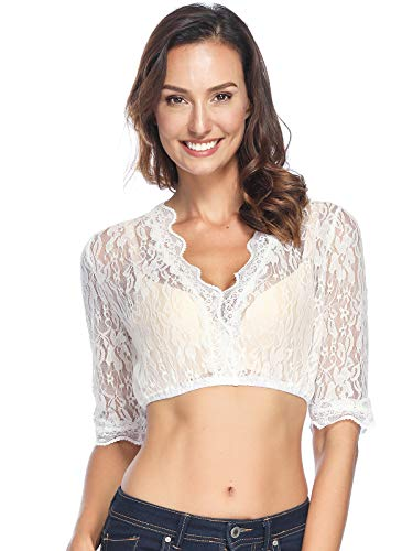 BesserBay Damen Tracht Dirndl Spitzenbluse Dirndlbluse Spitzen Dirndl Bluse Trachten Bluse Weiß Transparent 34