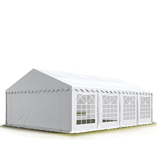 TOOLPORT Party-Zelt Festzelt 5x8 m Garten-Pavillon -Zelt 500g/m² PVC Plane in weiß Wasserdicht