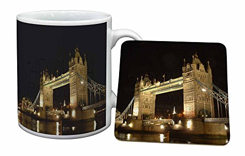 Advanta - Mug Coaster Set London Tower Bridge drucken Becher und Untersetzer Tier Gesch