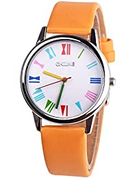 Ladies Watches Sale Clearance Under 10,Womens Crystal Quartz Watches,Womens Unisex Retro Casual Faux Leather Band Analog Alloy Quartz Wrist Watch(##Multicolor) (Orange)