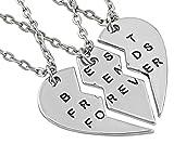 Hanessa Freundschafts-Halskette für Mädchen in Silber (3 Stück) Best Friends Forever Liebe Herz Damen-Schmuck