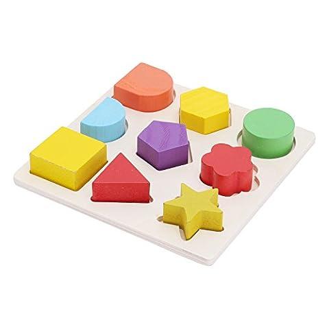 Merssavo Puzzles en bois géométrique Jeu éducatif pour Enfant avec 12 formes differentes