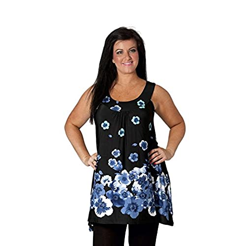 New Womens Plus Size Top Ladies Floral Poppy Print A-Line Tunic Asymmetric  Style Sleevless Border Print Nouvelle Collection Blue 22-24