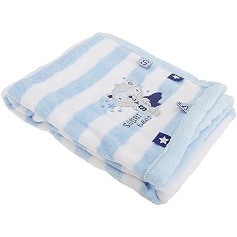 Manta suave con dibujo de osito azul para bebé