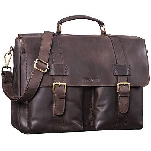 STILORD \'Zeus\' Große Leder Aktentasche Vintage Lehrertasche Businesstasche 15,6 Zoll Laptoptasche XL Umhängetasche Herren Damen Echtleder aufsteckbar, Farbe:matt - Dunkelbraun