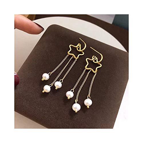 Natürliche Netto (DLJRX Netto Rot Mode Kreative 14 Karat Gold Sterne Quaste Ohrringe Außenhandel Neue Natürliche Süßwasser Perlen Ohrringe (Color : Golden))