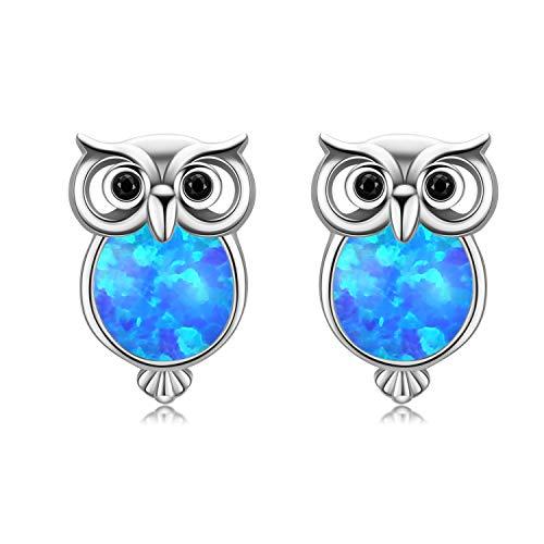 Ohrringe Damen Eule Ohrstecker 925 Sterling Silbler Ohrschmuck Opal Ohrringe Ohrstecker Weihnachtsgeschenke Geschenk für Damen (A-Silber)