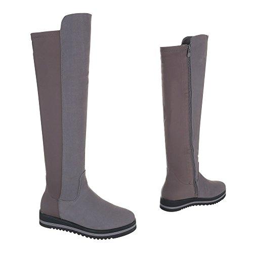 Klassische Stiefel Damenschuhe Klassische Stiefel Moderne Reißverschluss Ital-Design Stiefel Grau