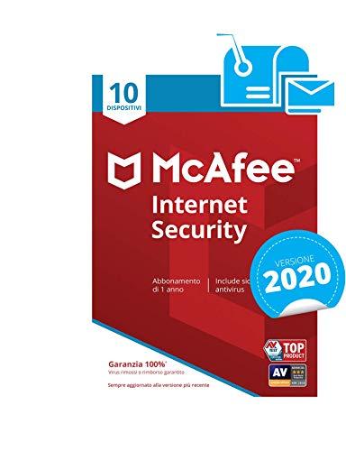 mcafee internet security 2020 | 10 dispositivi | abbonamento di 1 anno | pc/mac/smartphone/tablet | codice di attivazione via mail