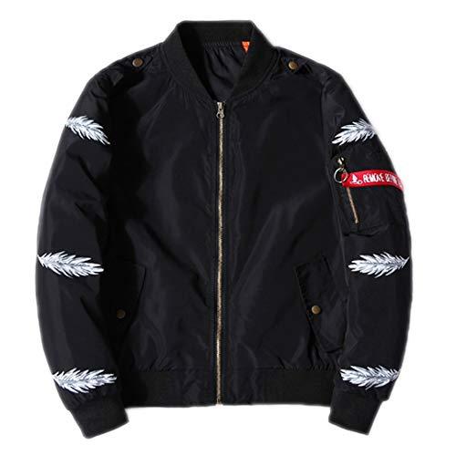 VHKHFWD Herren Bomberjacke Federdruck Stern Stickerei Flying Jacket