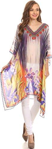 Sakkas Mimi Robe Caftan Courte Robe de Plage Transparente Col en V Motif Marocain Imprimé Violet Jaune/Multi
