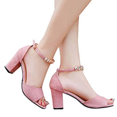 TianWlio Sandalen Damen Mode Schnalle Sandalen Knöchel Mitte Ferse Party Offener Zeh Schuhe Rosa 38
