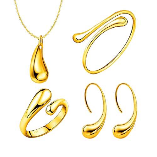 Alwayswin Halskette Armband Ohrringe Ring Vierteiliges Schmuckset Halskette Set Neu Damen Mode Schmuck Set Einfach Schmuck Geschenk Damenring Frauen Ohrringe Damen Halskette