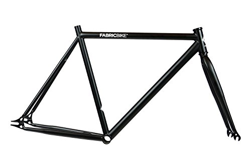 FabricBike - Fahrrad Rahmen mit Gabel, viele Farben alle Größen, Hi-Ten Stahl, Fixed Gear, Single Speed Frame (Black, M-53)
