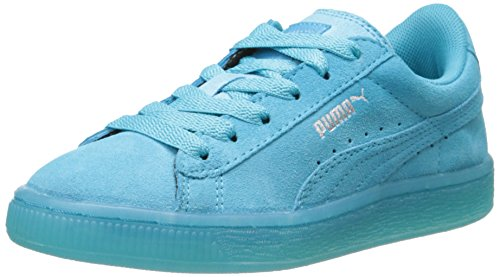 PUMA Suede Classic Iced Kids Sneaker (Infant/Toddler/Little Kid) , Blue Atoll/Puma Silver, 13 M US Little Kid