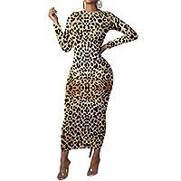 HEFASDM المرأة طويلة الأكمام ليوبارد الجسم الطباعة نمط مرونة اللباس اصفر Small