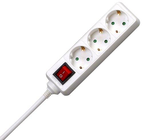 Kopp 129713007 tre gånger socket standard, med upplyst strömbrytare, vit
