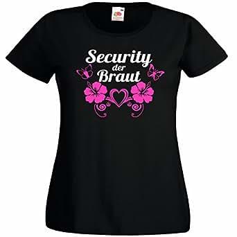 Security der Braut - T-Shirt für den Junggesellinnenabschied - JGA Braut Security, Größe S