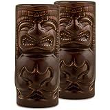 Homesake Handcrafted Ceramic Matt Brown Beer Mug 450 Ml, Tiki Tropical Bar Cocktail Mug, Set Of 2