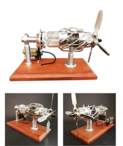 TETAKE Stirlingmotor Bausatz Metall Groß 16 Zylinder Sterling Motoren mit Generator Stirling Engine Motor Dampfmaschine Spielzeug für Kinder Erwachsene Technikinteressierte Bastler