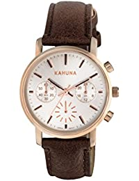 Kahuna Women's Quartz Watch with White Dial Chronograph Display and Brown PU Strap KLS-0316L
