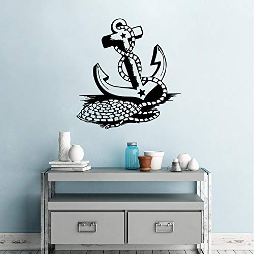 Preisvergleich Produktbild WWYJN Boat Anchor Wall Decals Sea Ocean Boat Anchor Wall Sticker Home Decor Nautical Theme Removable Vinyl Anchor Wall Poster 42x44cm