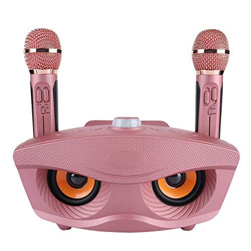 Tangxi kabelloses Bluetooth-Karaoke-Mikrofon in Roségold, KTV-Mikrofon und Mixer-System mit 2 Mikrofonen für TF-Karten, AUX, FM, U-Disk, für Familienfeiern, Innentreffen und Unterrichtszwecke