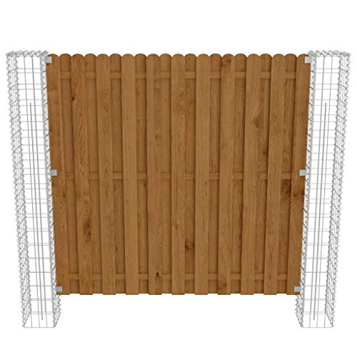 vidaXL Holz Sichtschutzzaun 180x180cm Gabionensäule Gabionenzaun Wand Gabionen