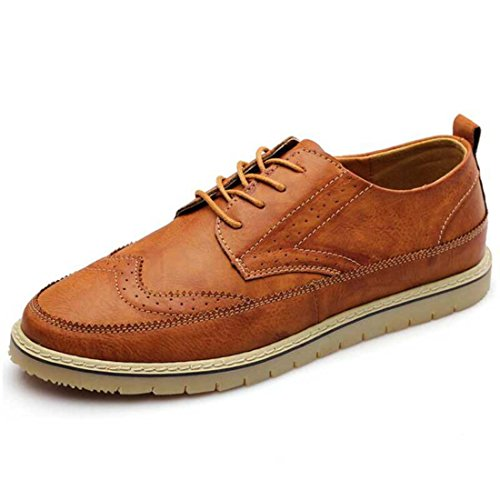 Men's British Style Split Leather Lace Up Casual Shoes brown