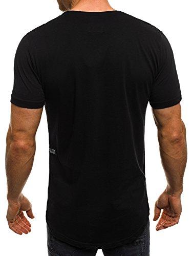 OZONEE Herren T-Shirt mit Motiv Kurzarm Rundhals Figurbetont BREEZY 301 Schwarz_BREEZY-301