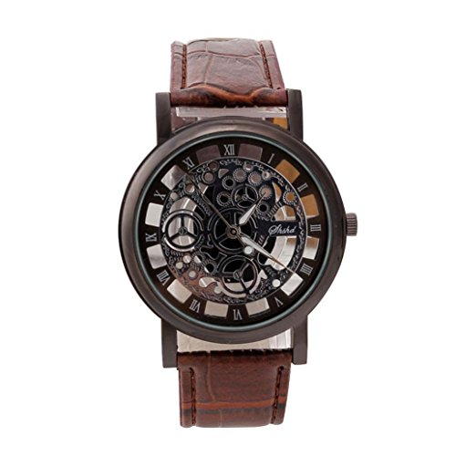 Montres Homme, Amlaiworld Montre de quartz en acier inoxydable de luxe Montre de cuir de sport militaire Bracelet cadran (1, A)