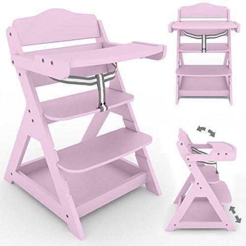 Froggy 2 in 1 Treppenhochstuhl für Kinder Holz Kinderhochstuhl mit klappbarem Tisch und Ablage Pink
