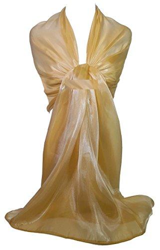 Gfm® - sciarpa a stola in tessuto velato brillante e iridescente, ideale per abiti da sera, matrimoni, feste o balli studenteschi, adatta per la sposa o la damigella (wg)(shim-17-hlsn) …