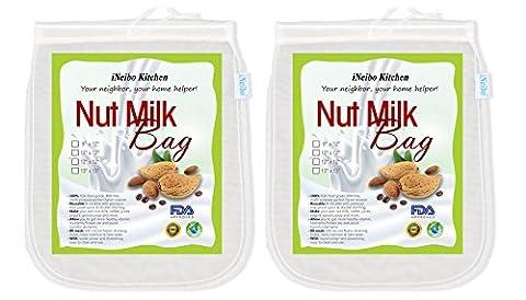 iNeibo Kitchen Nussmilchbeutel für vegana / Passiertuch waschbar / Durchseih Beutel/ Mandelmilch tuch zum auspressen von Obst, Gemüse, yogourt, marmelade, kaffee und vielmehr 13x13 (2stück)