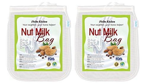 Nut milk bag, bolsa para hacer leches vegetales, iNeibo, bolsa para hacer queso, zumos vegetales, arroz, semillas...etc, multiusos, 100% natural, libre de celulosa, malla muy fina, sin BPA