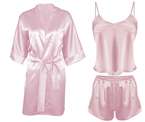 DKaren-Nachtwäsche Damen Wäsche-Set aus Satin Karen / Morgenmantel aus Satin 90 (XS-2XL) Rosa/Rosa