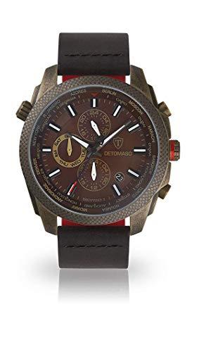 DETOMASO Discoverer II Herren-Armbanduhr Chronograph Analog Quarz schwarzes Lederarmband braunes Zifferblatt DT-YG102-I-950